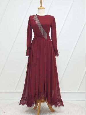 Stone Tassel Detailed Guipure Belt Chiffon Dress -Maroon