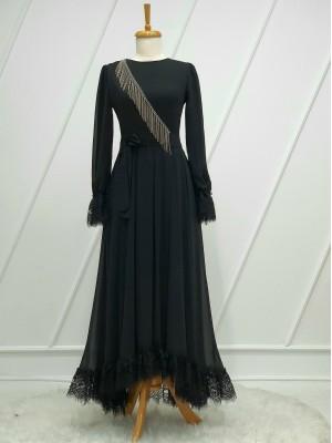 Stone Tassel Detailed Guipure Belt Chiffon Dress -Black