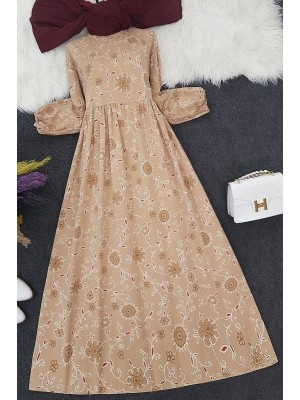 Embroidery Printed Long Dress -Mink color