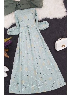 Embroidery Printed Long Dress -Mint Color