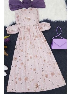 Embroidery Printed Long Dress -Powder