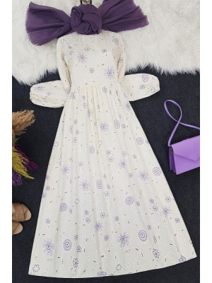 Embroidery Printed Long Dress -Cream color