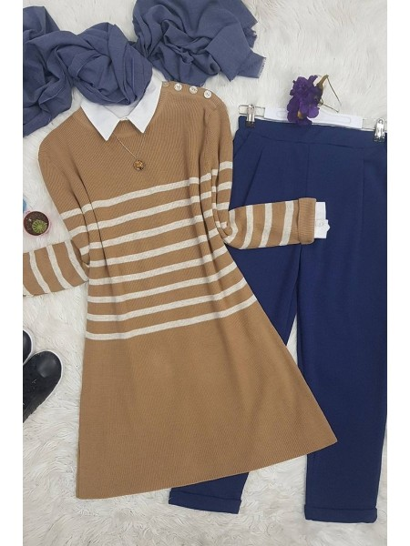 Button-Down Striped Knitwear Tunic-Mink color