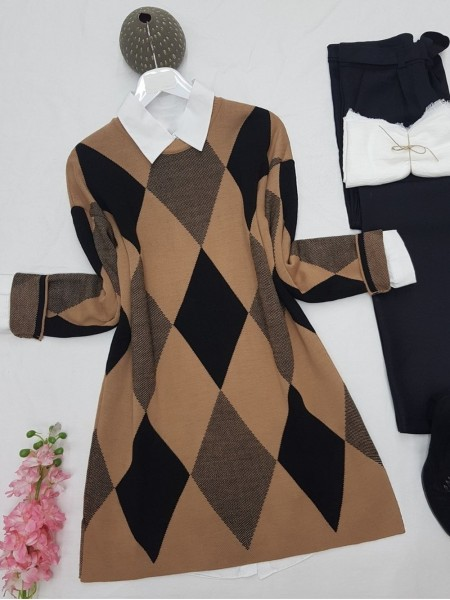 Crew Neck Diamond Pattern Double Layer Knitwear Tunic -Mink color