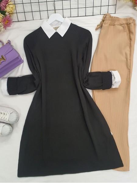 Raglan Sleeve Plain Knitwear Tunic -Black