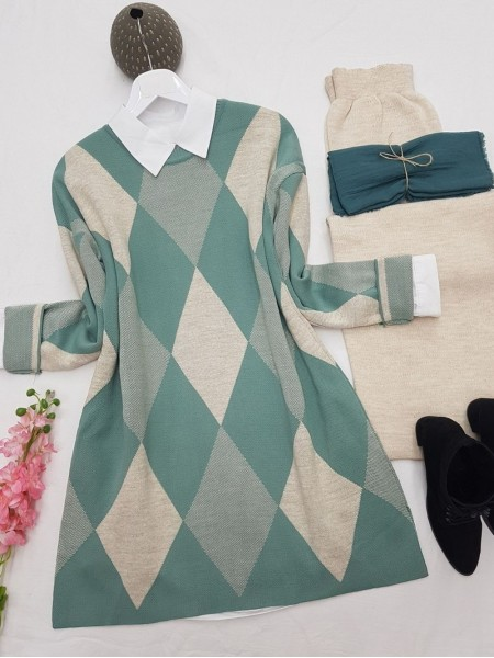 Crew Neck Diamond Pattern Double Layer Knitwear Tunic -Mint Color
