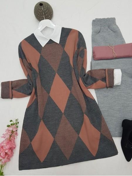 Crew Neck Diamond Pattern Double Layer Knitwear Tunic -Dried rose