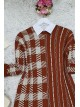 Crew Neck Slit Double Layer Knitwear Tunic -Brick color