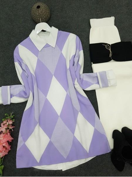 Crew Neck Diamond Pattern Double Layer Knitwear Tunic -Lilac