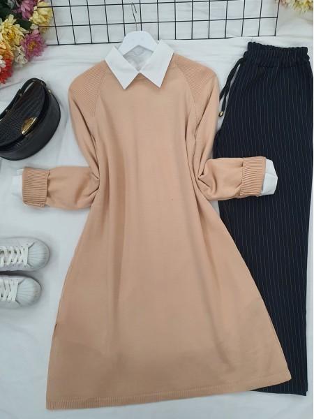 Raglan Sleeve Plain Knitwear Tunic -Powder