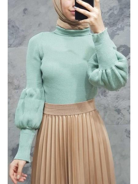 Balloon Sleeve Knitwear Sweater -Mint Color