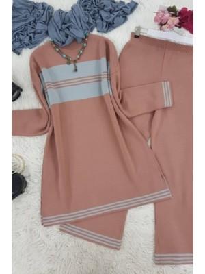 Striped Knitwear Suit -Dried rose