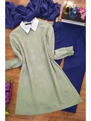 Silvery Polka Dot Pattern Knitwear Tunic -Green