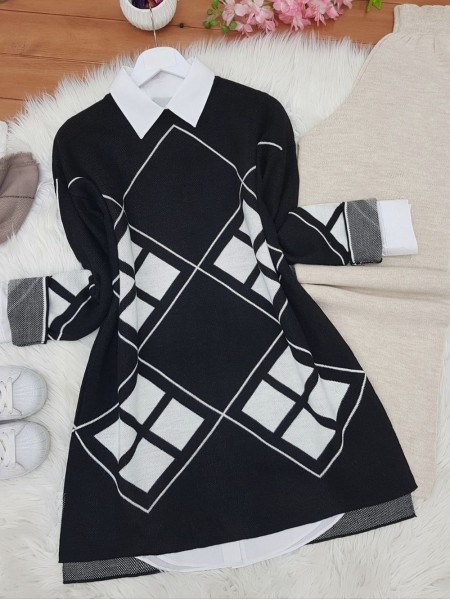 Sleeves Lozenge Pattern Double Layer Knitwear Tunic -Black