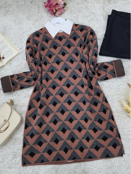 Three Color Triangle Pattern Double Layer Knitwear Tunic -Dried rose