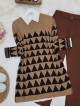 Triangle Pattern Double Layer Tunic -Mink color
