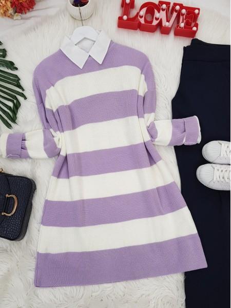 Striped Thessaloniki Knitwear Tunic  -Lilac