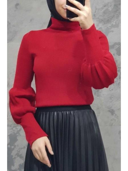 Balloon Sleeve Knitwear Sweater -Red