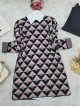 Three Color Triangle Pattern Double Layer Knitwear Tunic -Powder