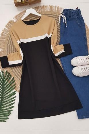Parçalı Renkli Krep Tunik -Siyah