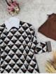 Three Color Triangle Pattern Double Layer Knitwear Tunic -Mink color