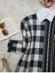 Crew Neck Slit Double Layer Knitwear Tunic -Black