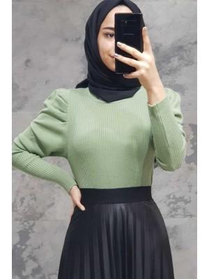 Balloon Sleeve Sweater-Green