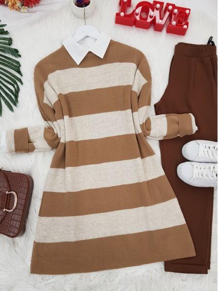 Striped Thessaloniki Knitwear Tunic -Mink color