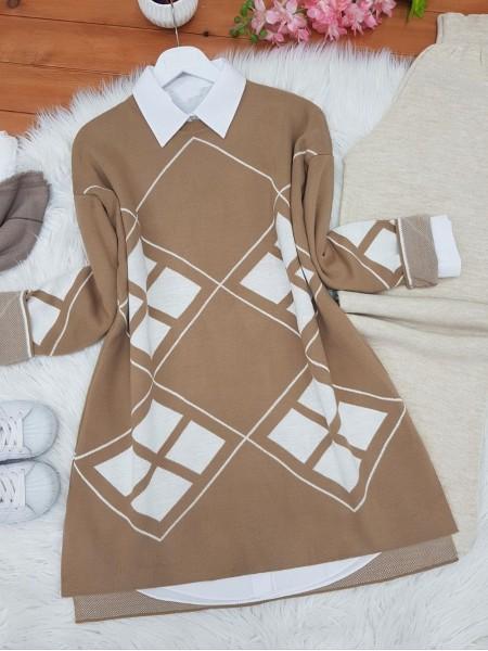 Sleeves Lozenge Pattern Double Layer Knitwear Tunic -Mink color