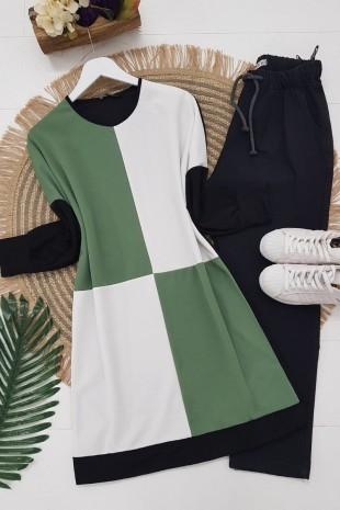Parçalı Kare Desen Krep Tunik -Yeşil