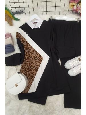 Leopard Detail Combed Cotton Suit -Black