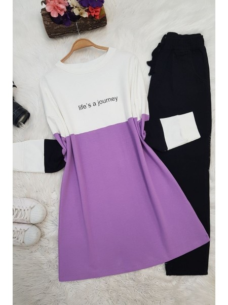 Colored Combed Cotton Tunic -Lilac