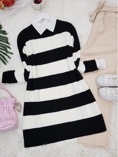 Striped Thessaloniki Knitwear Tunic -Black