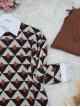 Three Color Triangle Pattern Double Layer Knitwear Tunic -Snuff