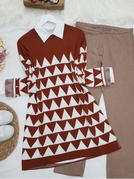 Triangle Pattern Double Layer Tunic -Brick color