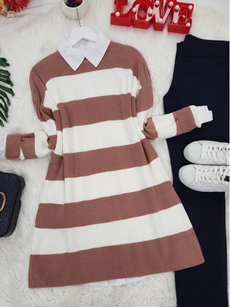 Striped Thessaloniki Knitwear Tunic -Powder