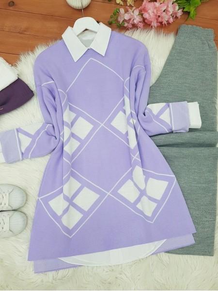 Sleeves Lozenge Pattern Double Layer Knitwear Tunic -Lilac