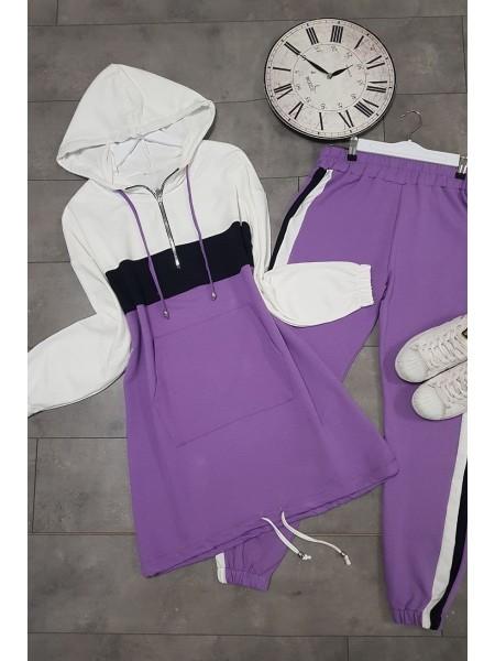 Kangaroo Pocket Hooded Suit -Lilac