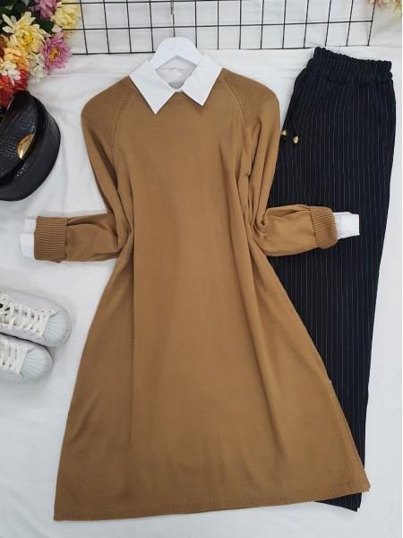 Raglan Sleeve Plain Knitwear Tunic -Mink color