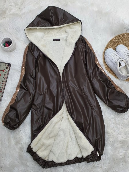 Sequined Hooded Skirt Elastic Coat -Brown