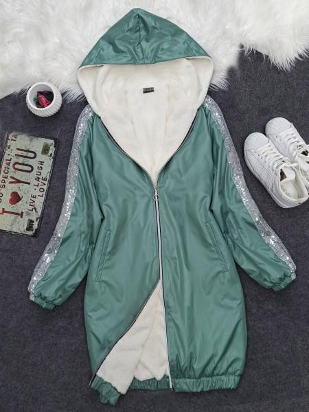 Sequined Hooded Skirt Elastic Coat -Mint Color