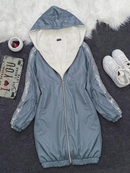 Sequined Hooded Skirt Elastic Coat -Ice Blue