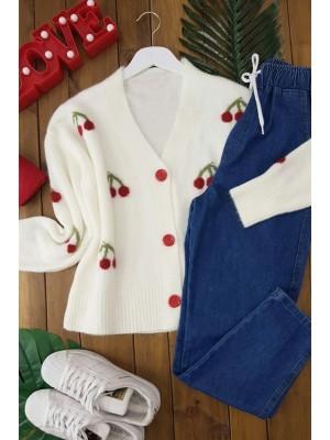 Cherry Patterned Short Cardigan -White