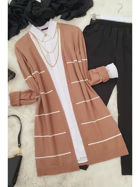 Striped Knitwear Cardigan -Powder