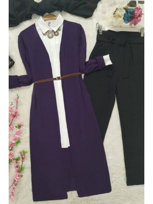 Long Knitwear Cardigan - Purple