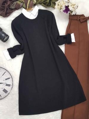 Yırtmaçlı Triko Tunik -Siyah