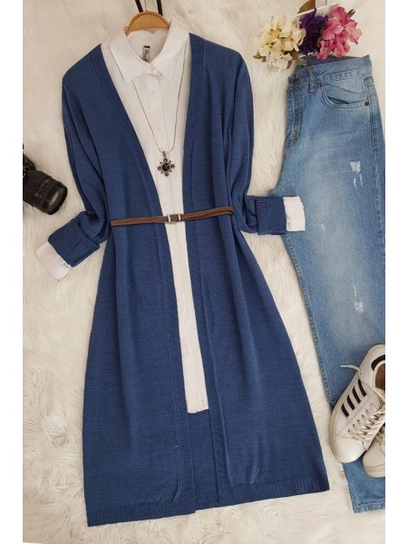 Long Knitwear Cardigan      -İndigo