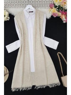Tasseled Pompom Knitwear Vest -Stone