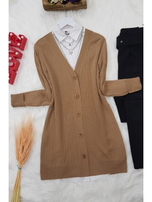 Buttoned Knitwear Tunic -Mink color