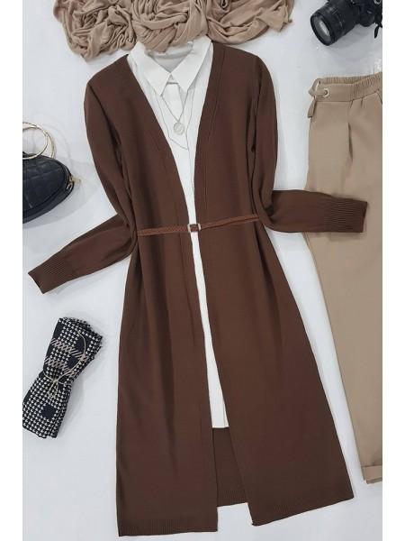 Long Knitwear Cardigan          -Brown